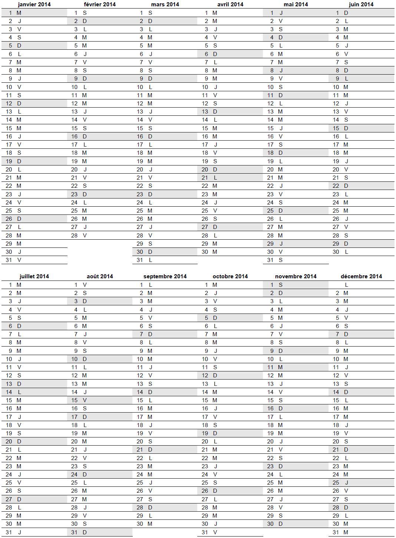 Très Calendrier 2014 vierge avec jours fériés à imprimer gratuit au  GO89